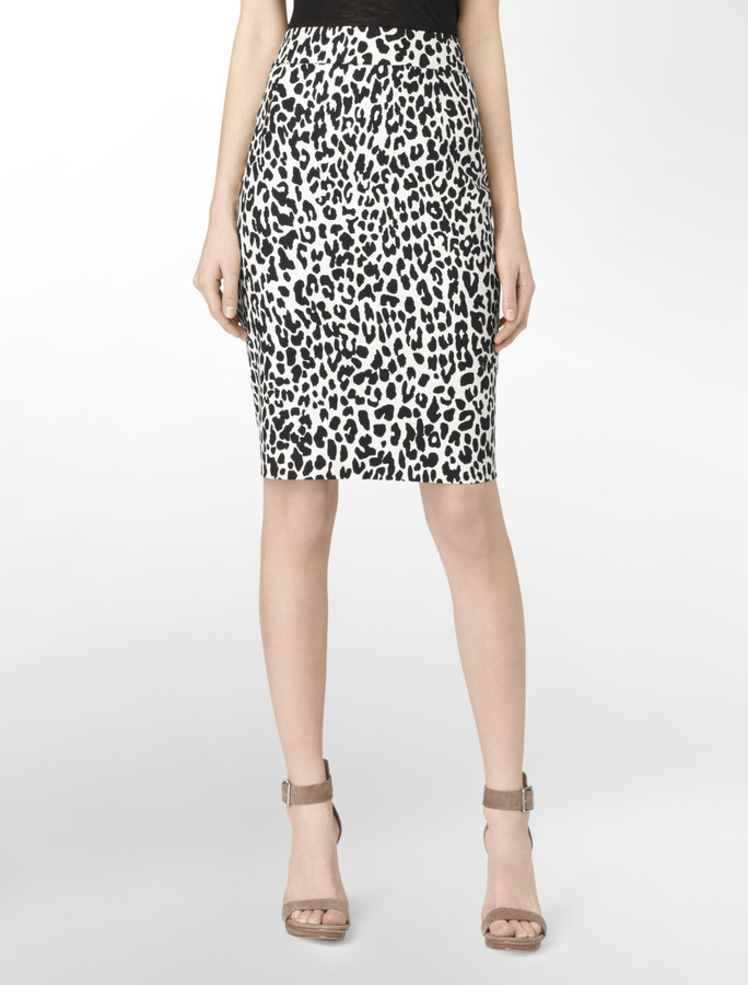 Calvin Klein Animal Print High Waist Pencil Skirt