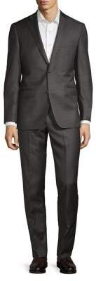 Black & Brown Black Brown Notch Lapel Wool Suit