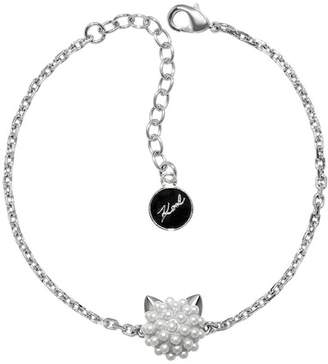 Karl Lagerfeld Rhodium Plated Simulated Pearl Choupette Charm Bracelet