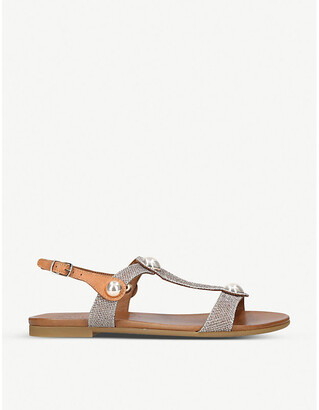 Carvela Comfort Saz fabric and leather embellished sandals