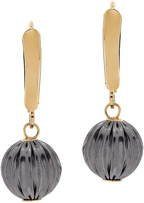 14K Gold Two-Tone Textured Dangle Bead Earrings