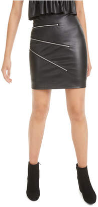 Bar III Zipper-Trimmed Faux-Leather Mini Skirt