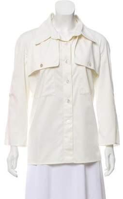 Naeem Khan Long Sleeve Button-Up Top