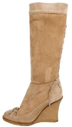 Christian Dior Wedge Knee-High Boots Tan Wedge Knee-High Boots