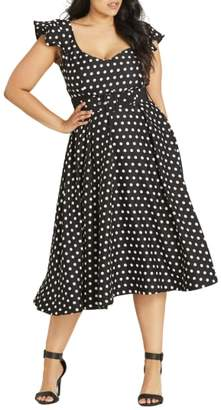 City Chic Flutter Spot Belted Dress
