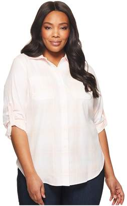Lauren Ralph Lauren Plus Size Plaid Rolled-Cuff Cotton Shirt Women's Clothing