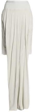 Asymmetric Draped Ribbed Knit-Paneled Silk-Georgette Skirt