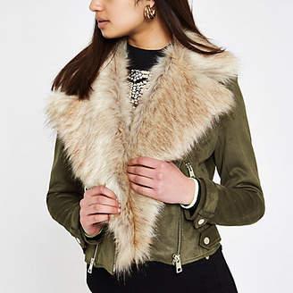 River Island Khaki faux suede fur trim biker jacket