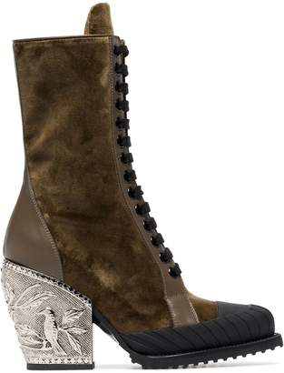 Chloé brown Rylee 90 baroque velvet lace up boots