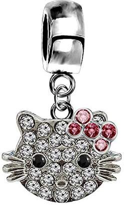 Hello Kitty Shalalla London Silver Hellokitty charm with CZ crystals - fits all type of pandora bracelets & necklaces