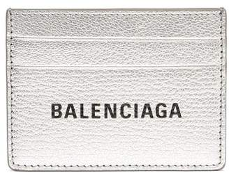 Balenciaga Everyday Logo Metallic Leather Cardholder - Womens - Silver