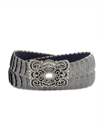Fashion Focus Accessories Stretch Metal Filigree Buckle Belt