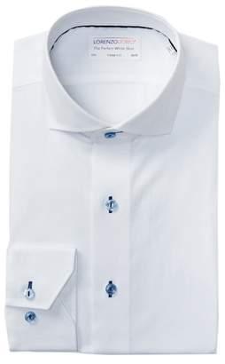 Lorenzo Uomo Jacquard Solid Trim Fit Dress Shirt
