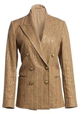 Brunello Cucinelli Cotton & Linen Paillette Chevron Jacket