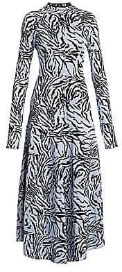 Proenza Schouler Women's Long-Sleeve Animal-Print Midi Dress