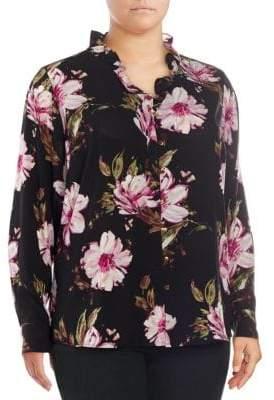 Calvin Klein Plus Floral Button-Down Shirt