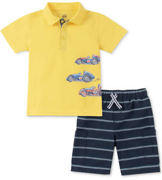Kids Headquarters Little Boys Race Car-Print Polo & Stripe Oxford Shorts
