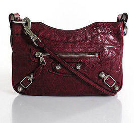 Balenciaga  Balenciaga Berry Red Leather Small Moto Clutch Crossbody Handbag