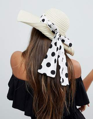 Asos Straw Floppy Hat with Polka Dot Bow Detail and Size Adjuster