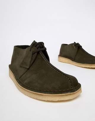 c4e43b3465122 Clarks desert trek shoes in dark green suede