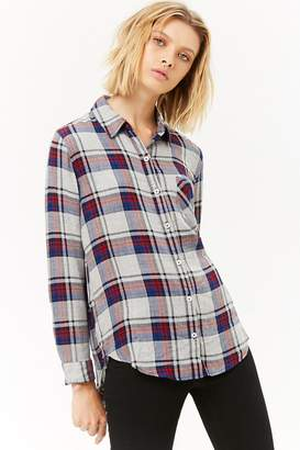 Forever 21 Plaid High-Low Shirt