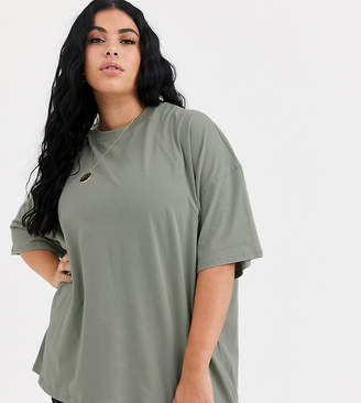 Asos DESIGN Curve super oversized t-shirt in sage