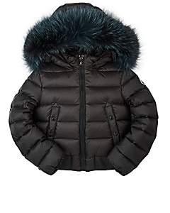 Moncler Kids' New Alberta Fur-Trimmed Bomber Coat-Gray