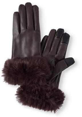 Time and Tru Women's P.U Leather Glove with Faux Fur Cuff