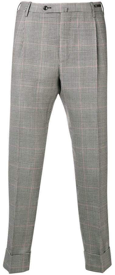 Pt01 checked slim fit chinos