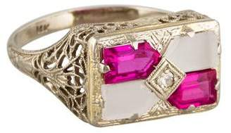 Ring 14K Art Deco Diamond, Synthetic Ruby & Camphor Glass