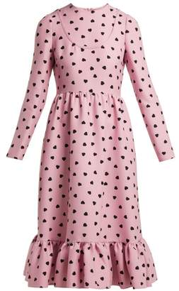 Valentino Heart Print Silk Crepe Midi Dress - Womens - Pink Print