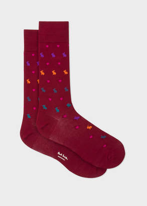 Paul Smith Men's Burgundy Rabbit And Heart Motif Socks
