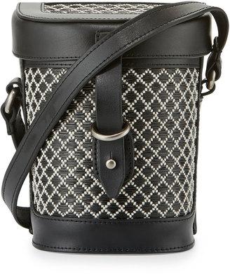 Kelsi Dagger Ainslie Straw Canteen Crossbody Bag, Black/Multi $100 thestylecure.com