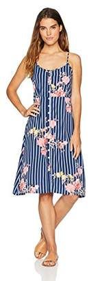 Oasis Wild Beachwear Women's Bodice Floral Printed Tank Dress with Button Detailing & Spaghetti Straps