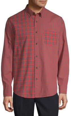ST. JOHN'S BAY Mens Long Sleeve Checked Button-Front Shirt Slim