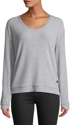 Peace Love World Catherine Ribbed Lace-Back Sweater, Gray