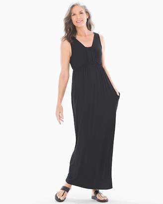 Soft Jersey Sleeveless Knotted V-Neck Maxi Dress Black