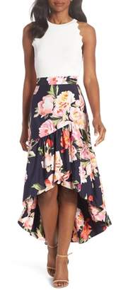 Eliza J Floral Print Ruffle Skirt