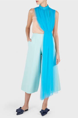 DELPOZO Cropped Wide Leg Crepe Trousers