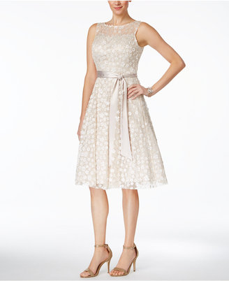 Jessica Howard Illusion Floral-Applique Fit & Flare Dress $159 thestylecure.com