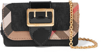 Burberry - Canvas-trimmed Patent And Textured-leather Shoulder Bag - Black $695 thestylecure.com