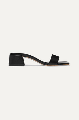 BY FAR Courtney Leather Mules - Black