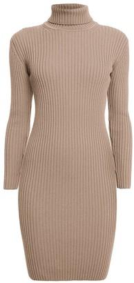 Rumour London Claudia Oatmeal Ribbed Turtleneck Dress