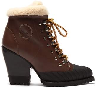 Chloé Shearling Lined Leather Ankle Boots - Womens - Brown