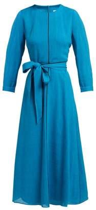 Cefinn - Tie Waist Voile Midi Dress - Womens - Mid Blue