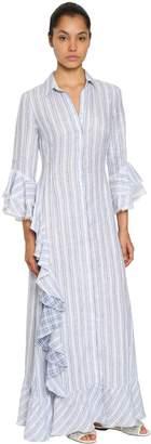 Ermanno Scervino Striped Linen Shirt Dress W/ Ruffles