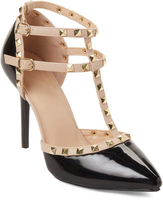 Wild Diva Lounge Black Adora T-Strap Studded Pumps