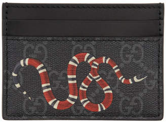 Gucci Grey and Black Snake GG Supreme Card Holder