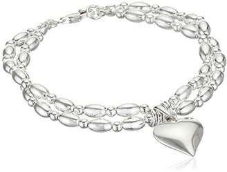 Elements Silver Elements Sterling Silver Ladies' B3698 Heart with Jump Ring Bracelet, Length 19cm