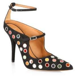 Givenchy Feminine Line Mirror-Embellished Suede Ankle-Strap Pumps
